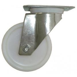 Roulette inox polyamide pivotante